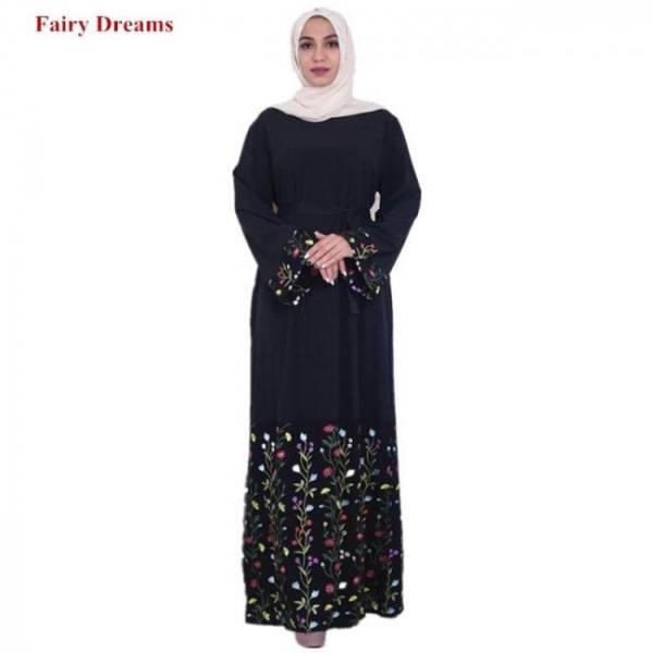 Black women islamic clothing abaya flowers embroidery muslim maxi dress