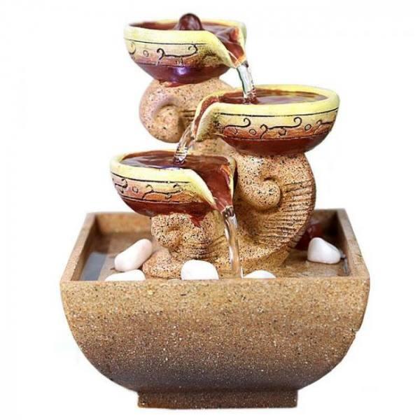 Resin decorative indoor desktop figurines fengshui water fountain humidification artificial stones craft