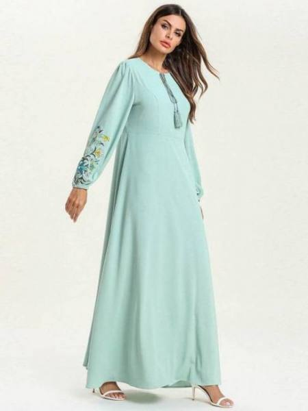 Abaya muslim women clothes green plus size maxi long sleeve embroidered dress