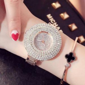Fashion women stainless steel belt ladies golden quartz wrist watches