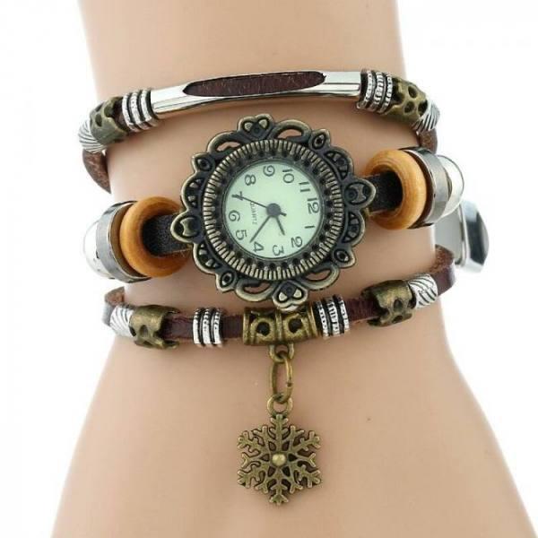 Gnova hand made women genuine leather bracelet quartz wrist watch