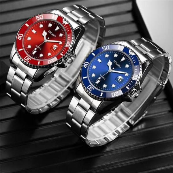 Men yolako fashion military stainless steel date sport quartz analog wrist watch