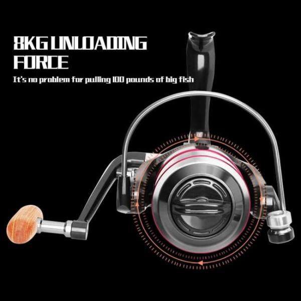 Fishing all metal spool spinning reel 8kg max drag stainless steel handle line