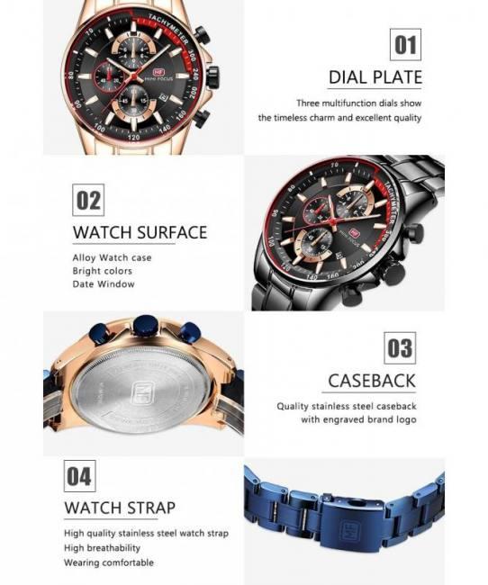 Fashion blue men quartz wrist sports watch