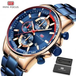 Fashion blue men quartz wrist sports watch