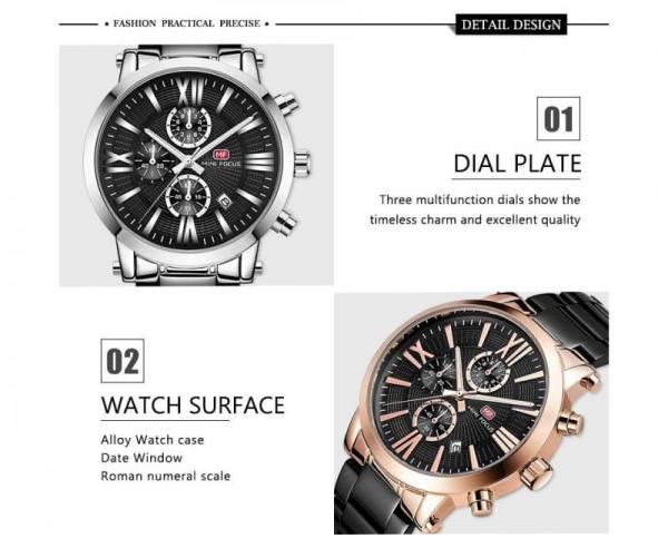 Mini focus top brand men luxury quartz wrist watch chronograph fashion blue