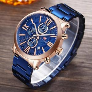 Mini focus top brand men luxury quartz wrist watch chronograph fashion blue