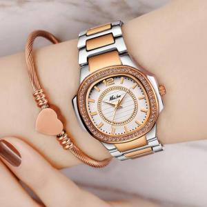 Missfox women rose gold fashion patek design casual ladies wrist watch