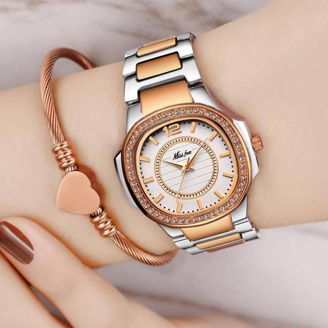 Missfox Women Rose Gold Fashion Patek Design Casual Ladies Wrist Watch Sadoun Sales International