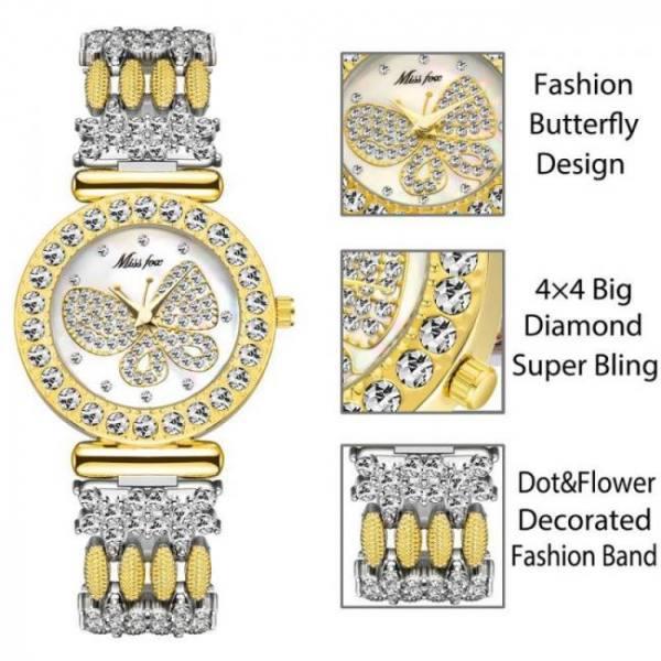 Missfox butterfly super bling diamond waterproof women ladies wrist watch