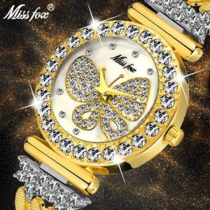 Missfox butterfly super bling diamond waterproof women ladies wrist watch