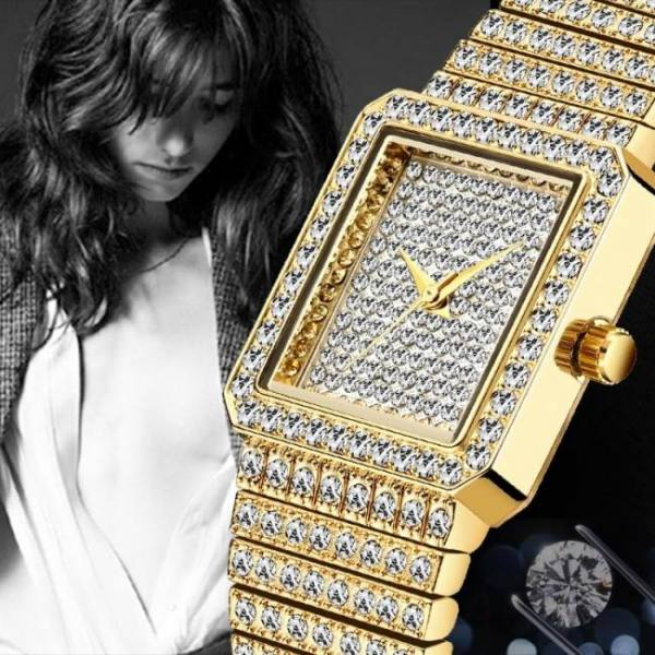 Missfox women luxury design diamond quartz wrist watch