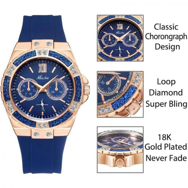 Women geneva fashion ladies wrist watch luxury diamond white rubber band