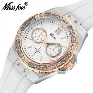 Women geneva fashion ladies wrist watch luxury diamond white rubber band