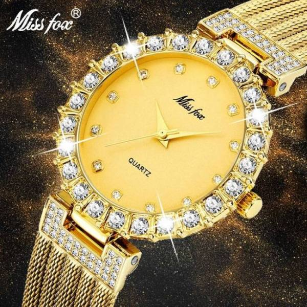 Missfox women ladies diamond quartz wrist watch waterproof