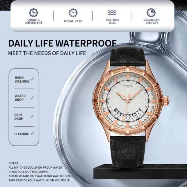 Men luxury leather business analog quartz wrist watch waterproof