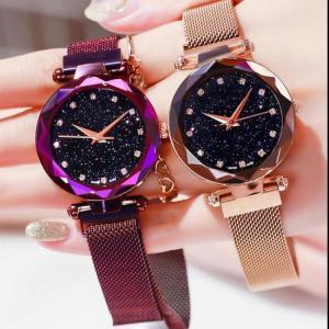 Women rose gold mesh magnet buckle starry quartz wrist watch