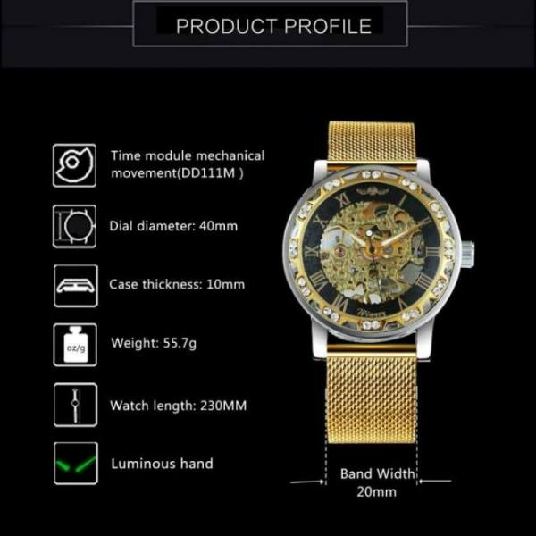 Skeleton mechanical men dial crystal business fashion wrist watch