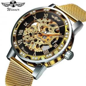 Skeleton mechanical men dial crystal business fashion wrist watch
