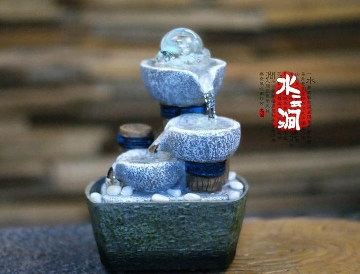 Ball decorative indoor desktop figurines fengshui water fountain humidification artificial stones craft