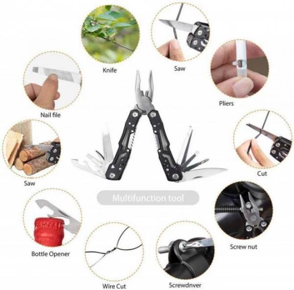14-in-1 outdoor camping survival multi tool pliers versatile repair folding screwdriver grip pliers edc gear hunting hiking