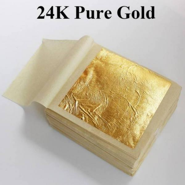 24k gold leaf edible gold foil sheets for cake decoration facial mask arts crafts paper home 10pcs real gold foil gilding