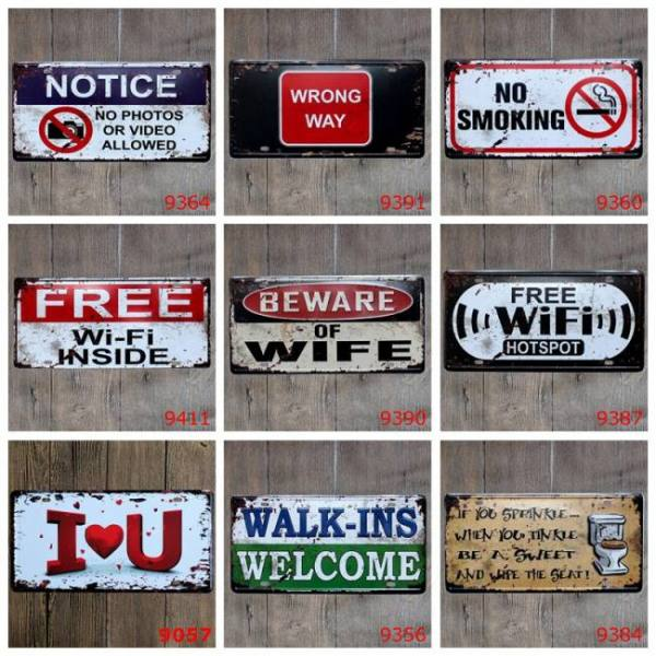 Beware of free wifi tin signs notice no photos or video smoking metal poster vintage home wall decoration license plate yqz011