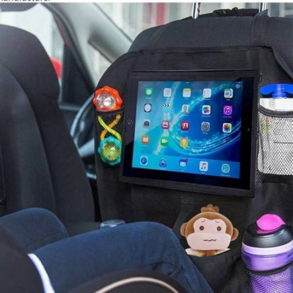 Backseat car organizer kick mats,  kids backseat car organizer travel kick mats back seat car protector with touch screen table
