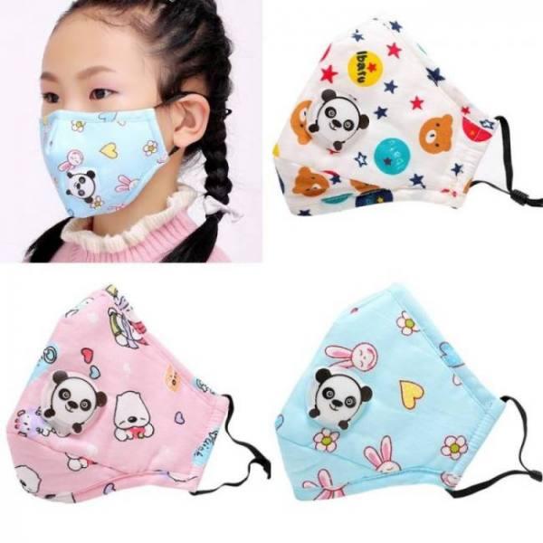 1pcs pm2.5 children mouth mask respiratory valve cartoon panda thicken smog mask warm dust mask fits 2-15 years old kids