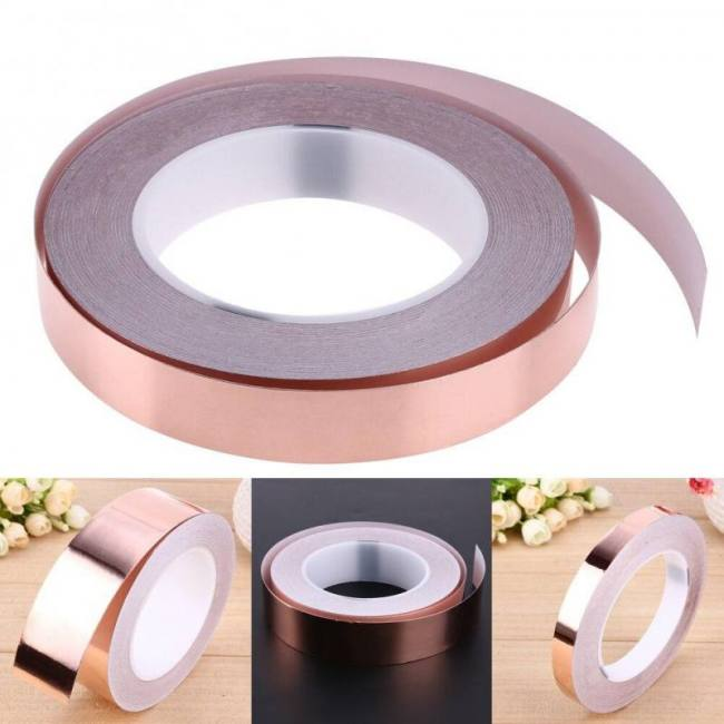 20M 5mm Single Sided Conductive Copper Foil Tape Strip Adhesive EMI Shielding