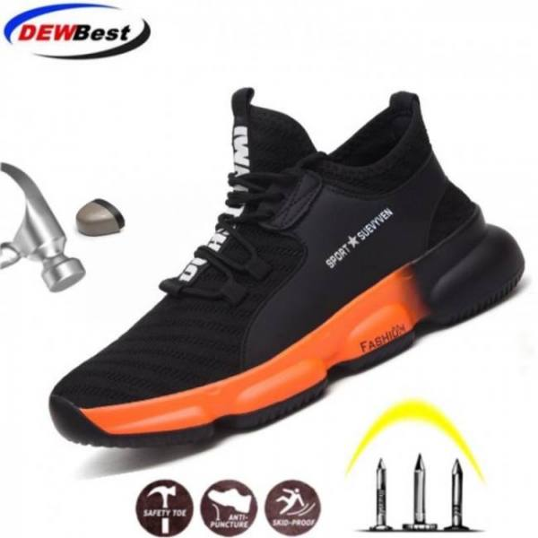 Dewbest men's steel toe work safety shoes casual breathable outdoor sneakers puncture proof boots comfortable industrial shoes