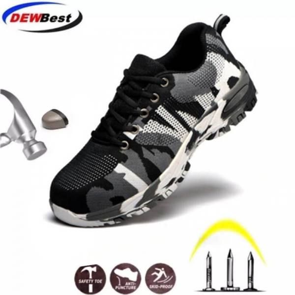 Construction men's outdoor plus size steel toe cap work boots shoes men camouflage puncture proof safety shoes breathable