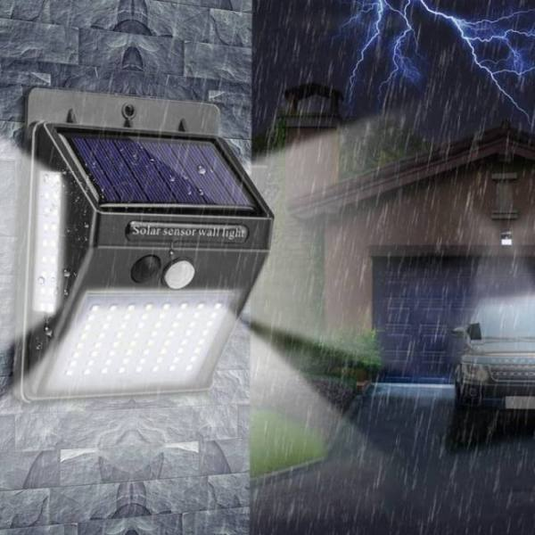 Outdoor lighting 100 led solar wall light waterproof outdoor lamp led with pir motion sensor exterior light