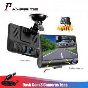 "Amprime 4"" three way car dvr fhd three lens video recorder camera 170 wide angle dash cam g-sensor and night vision camcorder"