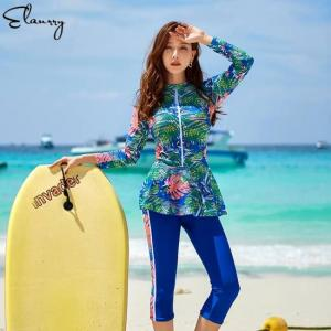 2020 newest women surfing suit 4 pieces sport swimwear long sleeves print rashgurads zipper swimsuit padded plus size rashguards