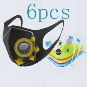 6 pcs dust mask filter anti pm2.5 air pollution mouth face mask winter anti dust carbon insert washed reusable masks men women