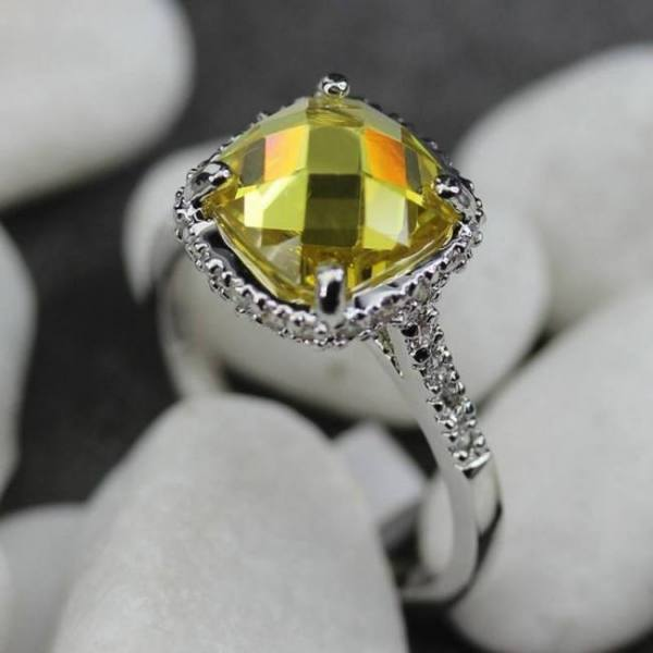 Fleure esme hot bezel setting rhodium plated ring champagne cubic zirconia r3603 size #6 7 8 9 romantic style women jewelry gift