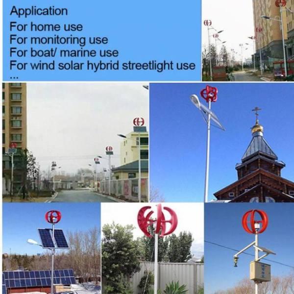 800w 12v/24v wind power generator vertical wind t urbine lantern 5 blades motor with controller for home streelight hy brid use