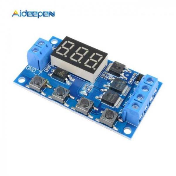Dc 5v-30v dual mos time delay relay high level trigger led digital display cycle time timer delay switch circuit 12v 24v 0-999