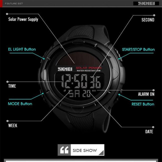 Fashion solar sports watches men luxury brand skmei led military digital watch waterproof clock male casual wristwatches relogio