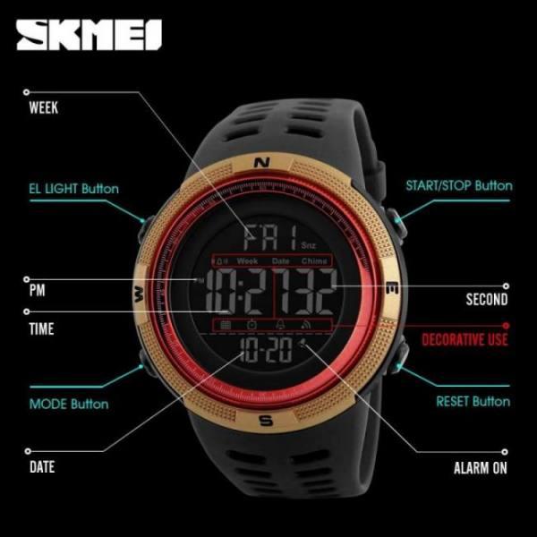 Skmei brand men sports watches fashion chronos countdown men's waterproof led digital watch man military clock relogio masculino