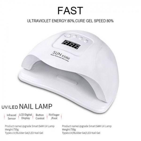 Sunx5 plus 72w/54w uv lamp led nail lamp nail dryer sun light for manicure gel nails lamp drying for gel varnish