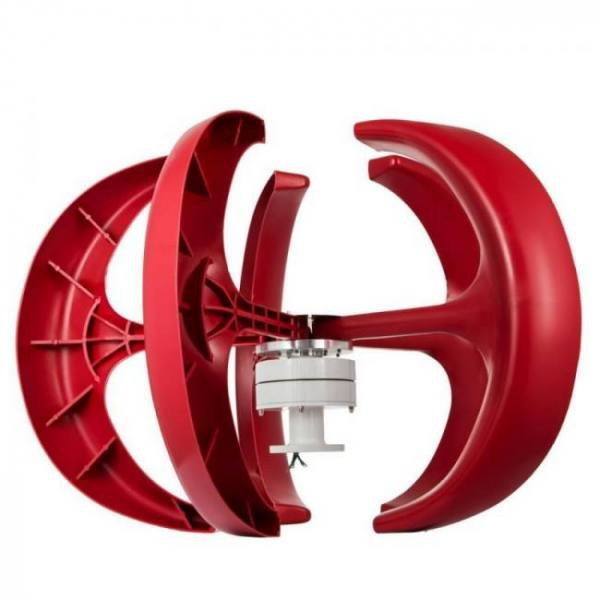 Vevor wind turbine 100w 12v/24v wind turbine generator red lantern vertical wind generator 5 leaves with controller