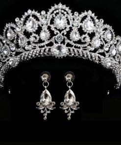 Wedding crown queen bridal tiaras bride crown with earrings headband wedding  accessories diadem mariage hair jewelry ornaments