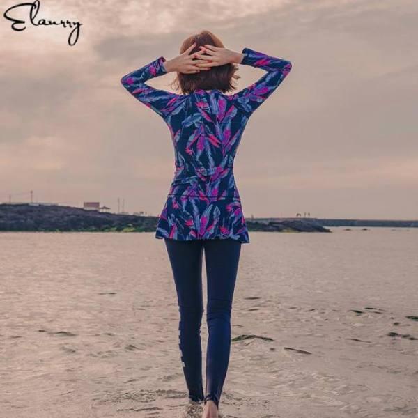 Women long sleeves summer sufing suit summer 4 pieces print rashguards femmale padded bathing suits sexy zipper sport swimwear