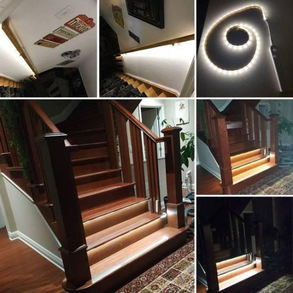 3m 2m 1m led smart stair light under bed light pir sensor detector control intelligent wall lamp cupboard wardrobe kitchen light