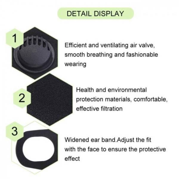 5/2pcs pm2.5 valved face mouth mask anti-dust haze fog air pollution respirator reuseable washable black shield safe breathing