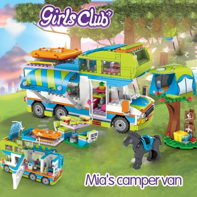 534pcs City Outing Camper Bus Car Building Blocks Friends Bricks Educational Toy