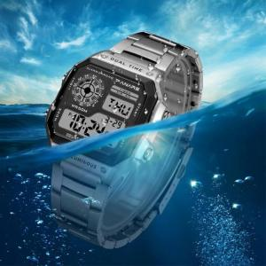 Synoke big small digital watch men women luxury gold wristwatch 50m waterproof male female clock multifunction metal body watch