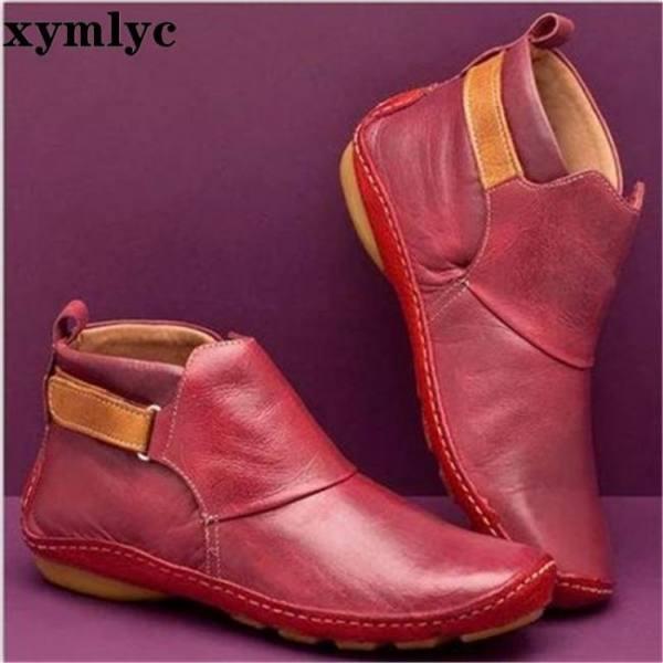 Women's pu leather ankle boots women cross strap vintage woman shoes short plush punk boots flat ladies retro botas mujer